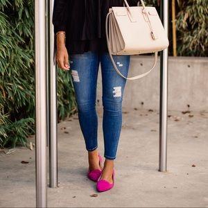Hit Pink Velvet Flats 💗